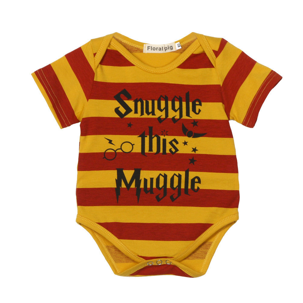 Baby Boy Short Sleeve Stripe Letter Print Romper Jumpsuit Kids Clothes