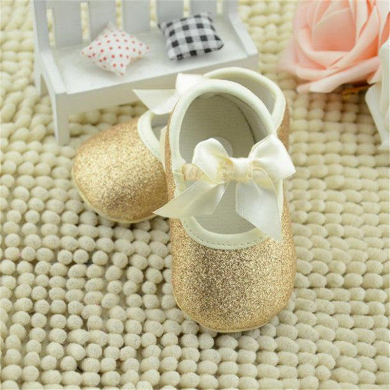 Solid Glitter Baby Girl Shoes