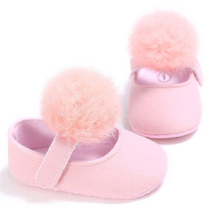 Newborn Spring Toddler Baby Girls Pompom Princess Soft Sole Crib Shoes