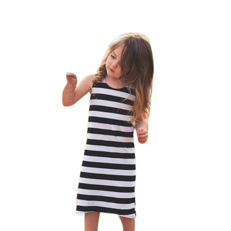 New 2018 sleeveless mother daughter Striped dress