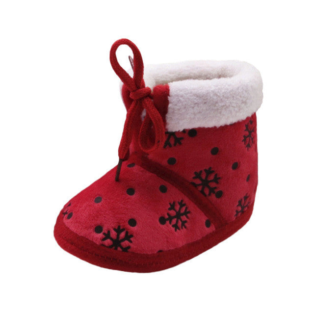 2017 Winter Baby Shoes Toddler Newborn Christmas Baby Snow Print Soft Sole Boots