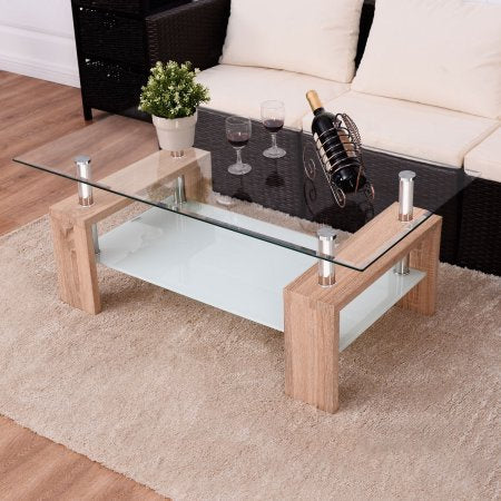 Glass Table Coffee Table.99decors Rectangular Glass Table With Wooden Legs