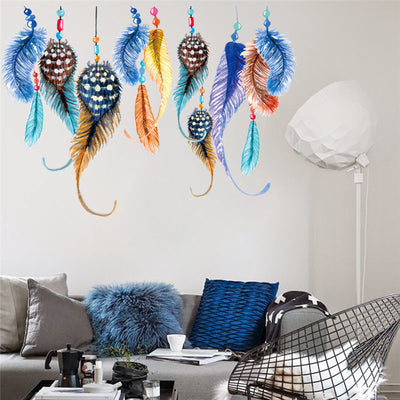 Classic Indian style feather wall stickers