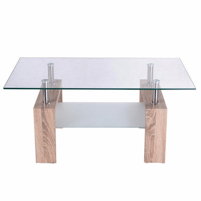 99decors Rectangular Glass Table with wooden legs