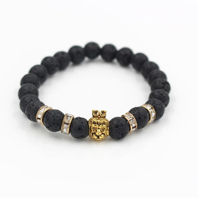 Natural Marble Stone Lion Head Bracelet