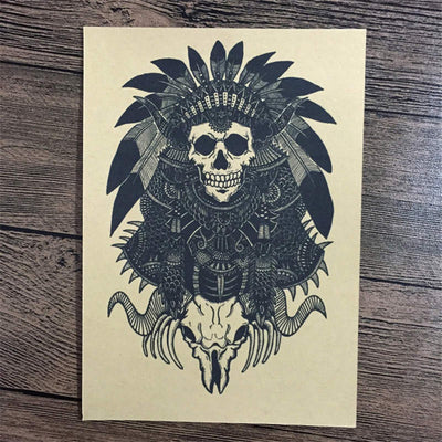 PUNK SKULL Indian Retro wall sticker