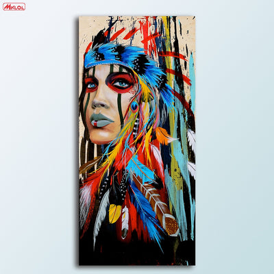 Native American Girl Oil Painting Art For Sale