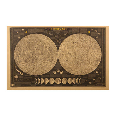 Large Vintage Retro Paper Earth Moon