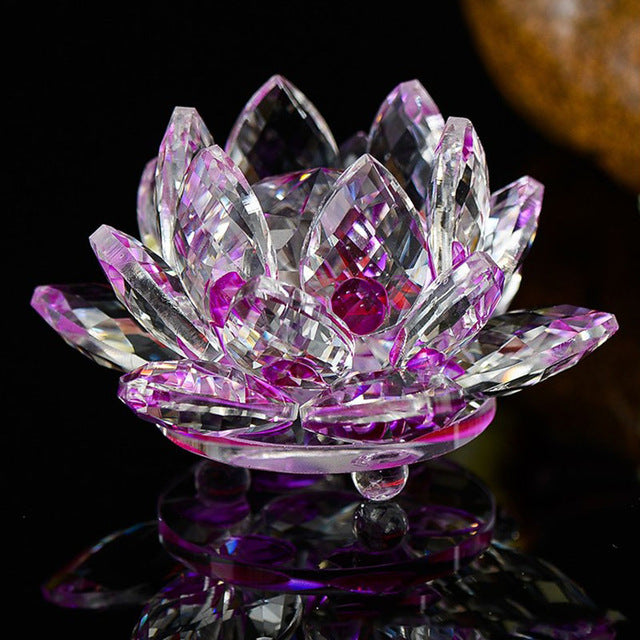 Crystal Glass Lotus Flower  Indian arts home decor