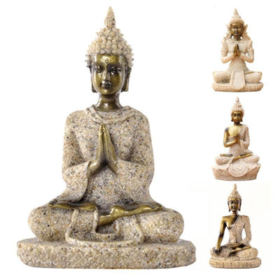 Natural Sandstone Seated Thailand Buddha Statue