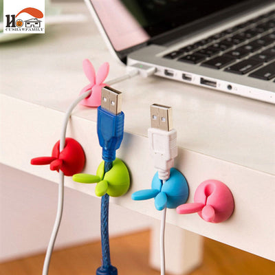 4 pcs rabbit ear silicone desktop winder cable organizer for office improvement on sale