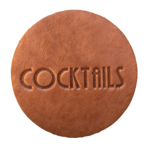 """Cocktails"" Leather Coaster"
