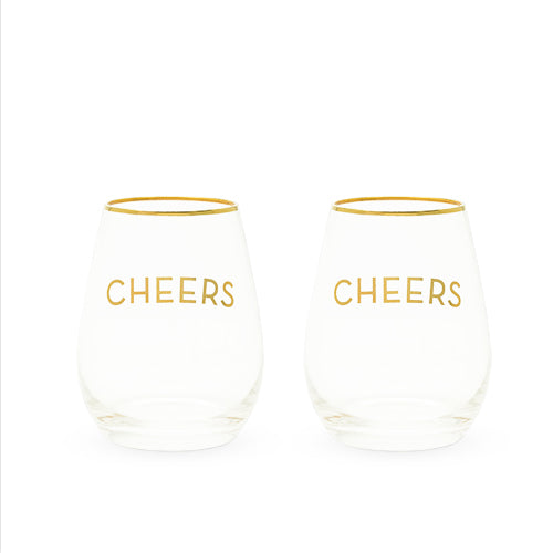 Cheers Stemless Wine Glass Set