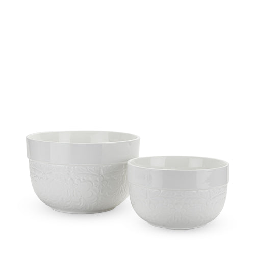Floral Textured Ceramic Mixing Bowls