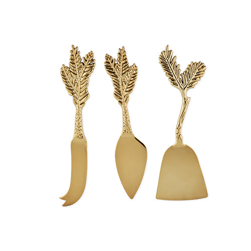 Rustic Holiday Gold Plated Pine Needle Cheese Knife Set