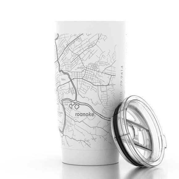 Well Told Roanoke, Virginia Map Insulated Pint Tumbler