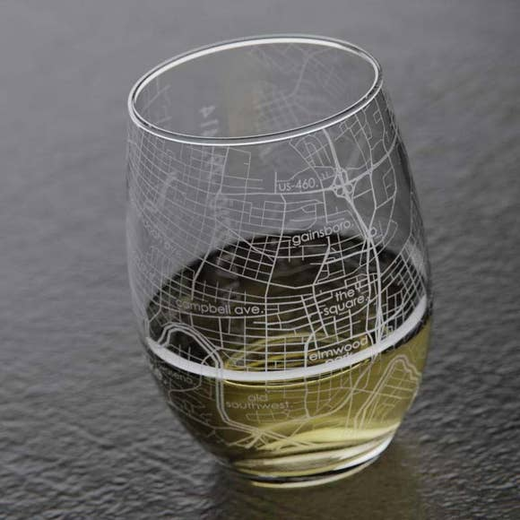 Well Told Roanoke, Virginia Map Stemless Wine Glass