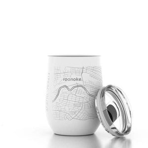 Well Told Roanoke, Virginia Map Insulated Wine Tumbler