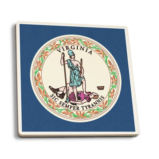 Lantern Press, Letterpress Ceramic Coasters - Virginia State Flag