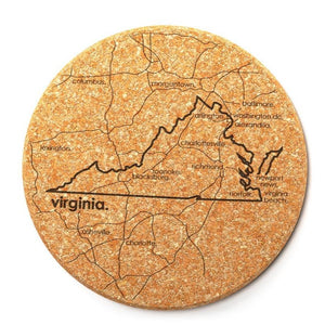 Well Told Roanoke, Virginia Map Cork Coaster