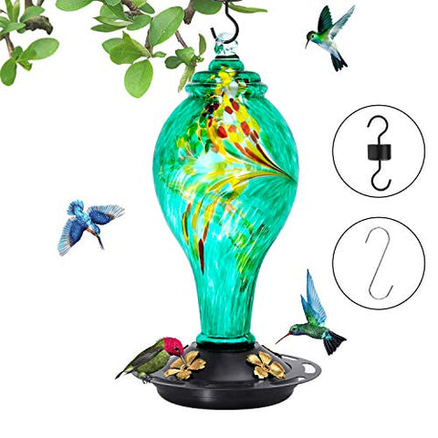 Hummingbird Feeder- Large 42 Ounces Nectar Capacity, Hand Blown Glass Leakproof