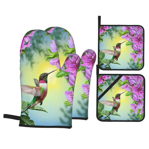 Hummingbird Pink Flower Oven Mitts and Pot Holders 4pcs Set