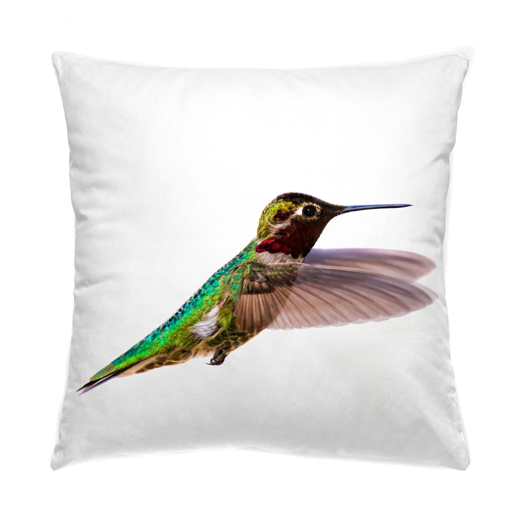 "Bird, James Bird photograph on a 20"" square pillow."