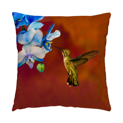 "Blue Orchid Feast photograph on a 16"" square pillow."