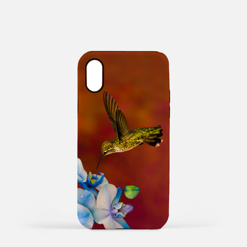Blue Orchid Feast photograph printed on an iPhone X case.
