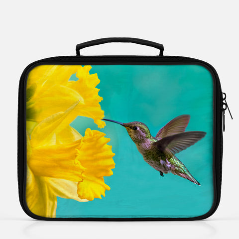 Daffodil photograph printed on a lunch box.