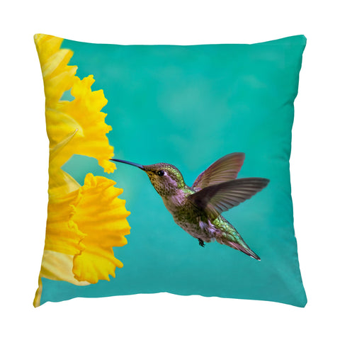 "Daffodil photograph on a 16"" square pillow."