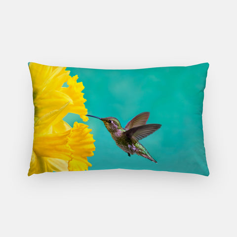 Daffodil photograph printed on a lumbar pillow.