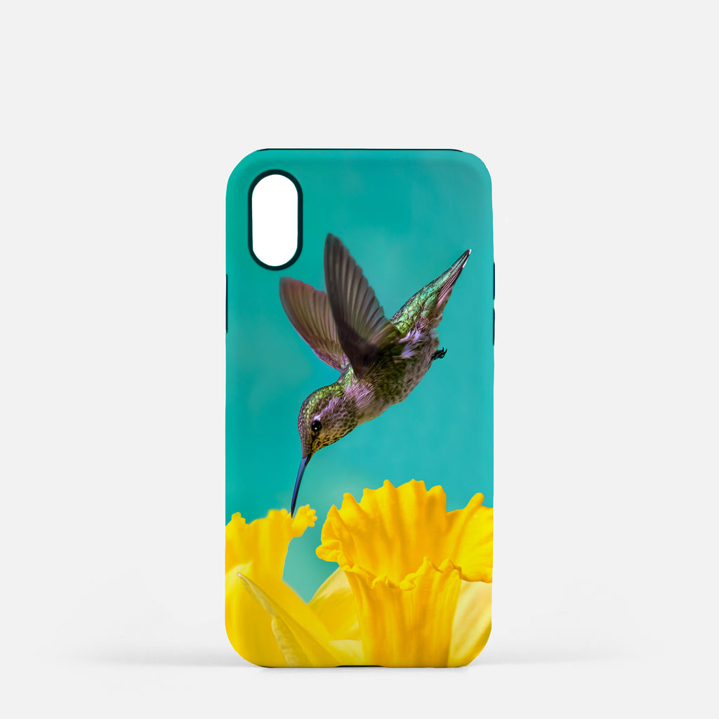 Daffodil photograph printed on an iPhone X case.