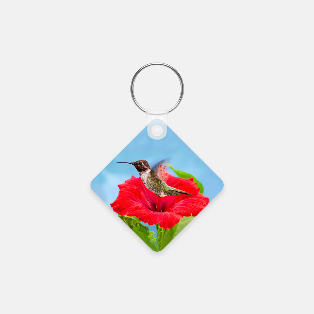 Fairy Wings photograph printed on a square key chain.