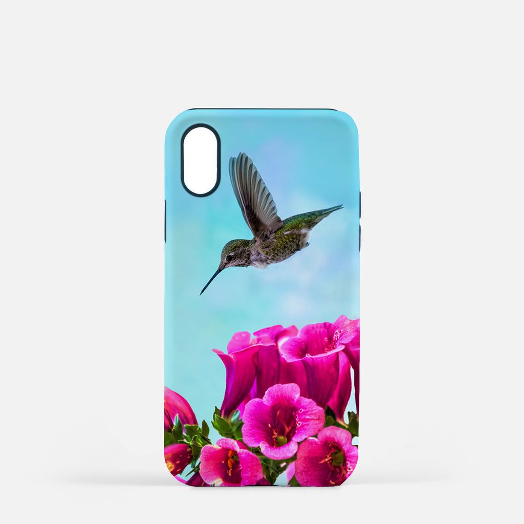 Feathered Throat photograph printed on an iPhone X case.