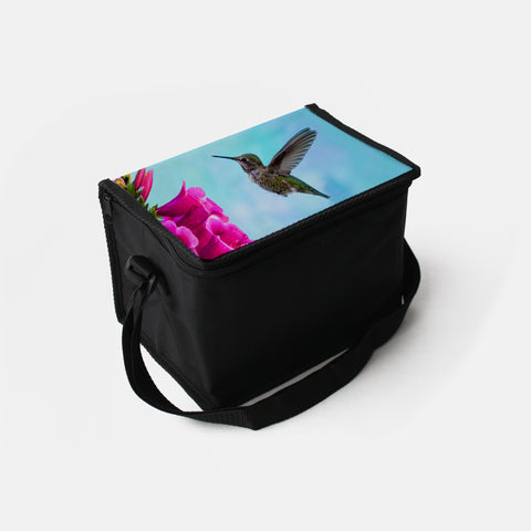 Feathered Throat photograph printed on a lunch box.