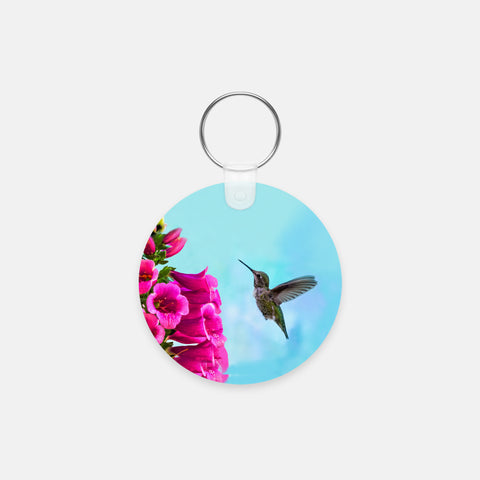 Feathered Throat photograph printed on a round key chain.