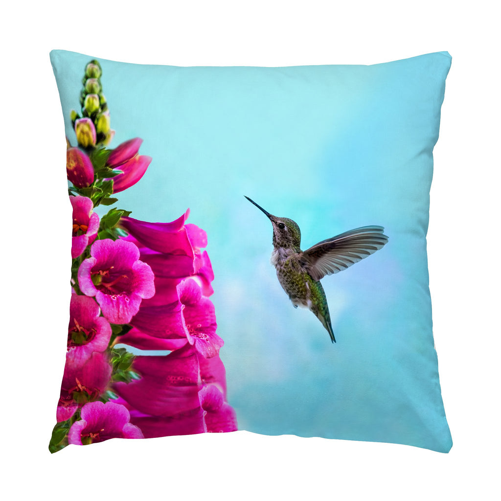 "Feathered Throat hummingbird photograph on a 16"" square pillow."