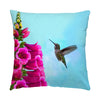 "Image of Feathered Throat hummingbird photograph on a 16"" square pillow."