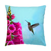 "Image of Feathered Throat hummingbird photograph on a 20"" square pillow."