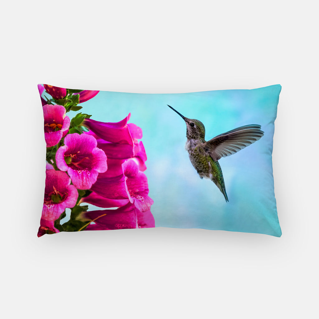 Feathered Throat photograph printed on a lumbar pillow.