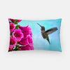 Image of Feathered Throat photograph printed on a lumbar pillow.