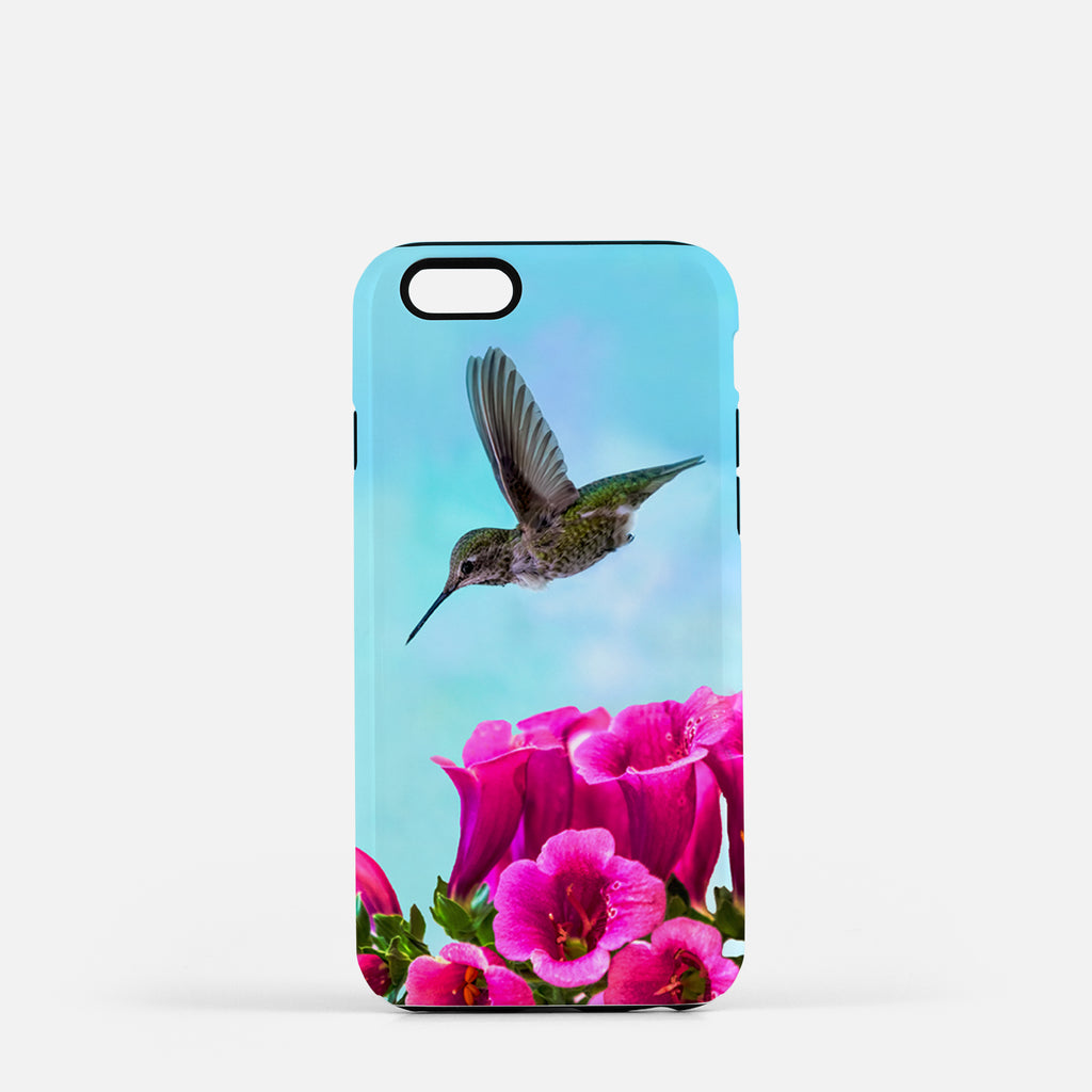 Feathered Throat photograph on an iPhone 8 phone cover.