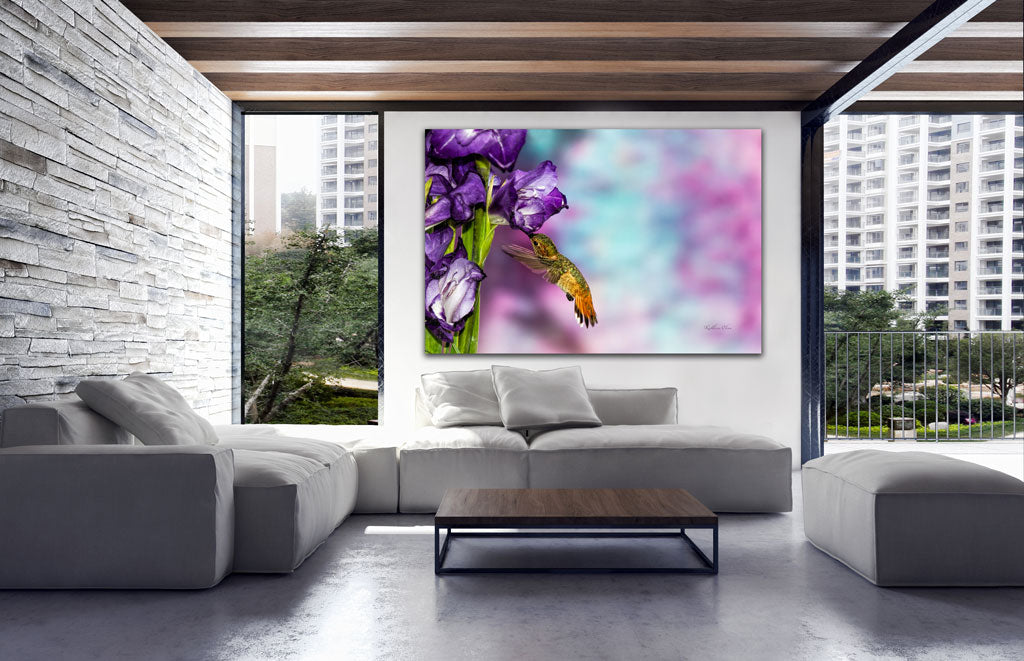 Picture of Gladiolus In Purple hanging in a room.