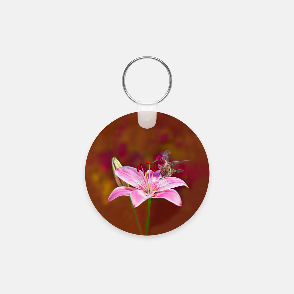 Gorgeous Redhead photograph printed on a round key chain.