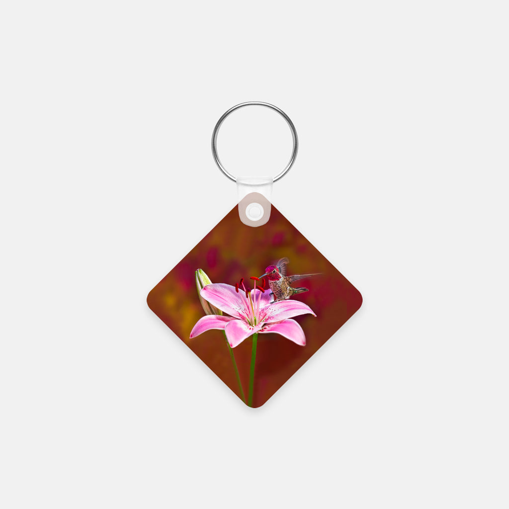 Hummingbird Square Key Chain