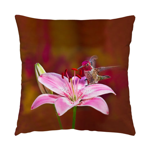 "Gorgeous Redhead hummingbird photograph on a 16"" square pillow."