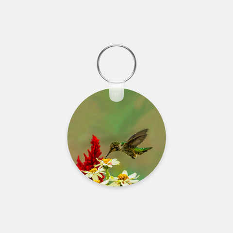 Green Goddess photograph printed on a round key chain.