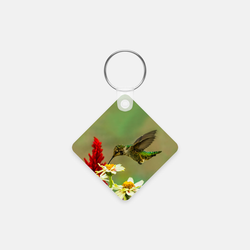 Green Goddess photograph printed on a square key chain.