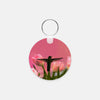 Image of Guarding The Tulips photograph printed on a round key chain.